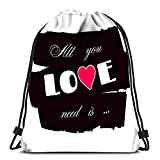 Lmtt Bolsas con cordón Mochila Todo lo Que Necesitas es Amor Romance Cita Retro Corazón Día de San Valentín Viajes Bolsas de Gimnasia Mochila Hombro