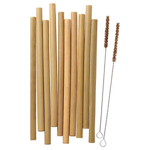 IKEA OKUVLIG - Pajitas reutilizables de bambú (juego de 12 pajitas y 2 cepillos)