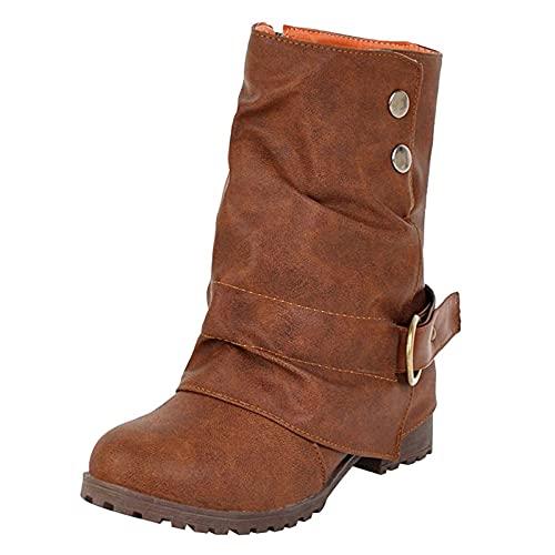 Fomino Botines de caña corta para mujer, con tacón en bloque, cálidos, forrados, de invierno, antideslizantes, para la nieve, marrón, 41 EU