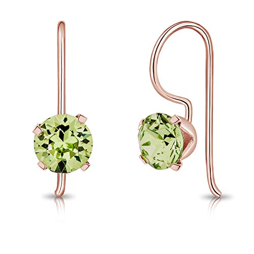 DTPSilver - 925 Sterling Silver Rose Gold Plated Round Fixed Hook Earrings made with Glittering Crystals from Swarovski Elements - Diameter: 6 mm - Colour : Peridot