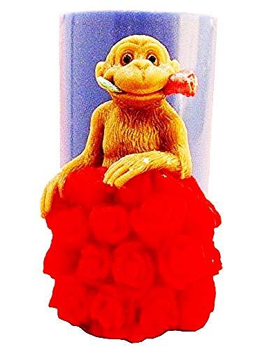 Stampo Silicone Scimmia Fiori di Rose Amore Candele Resina Gesso Uso Artigianale Idea Regalo Natale Compleanno Festa