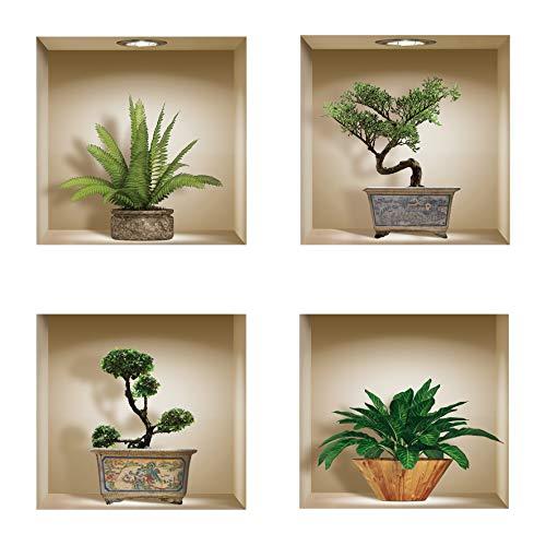 The Nisha DIY Pegatinas Etiquetas para Pared Desmontables de Vinilo 3D Arte Mágico, Conjunto de 4, Bonsai verde y plantas