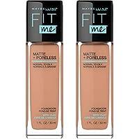 2-Count Maybelline Fit Me Matte + Poreless Liquid Foundation Makeup, (312 Golden)