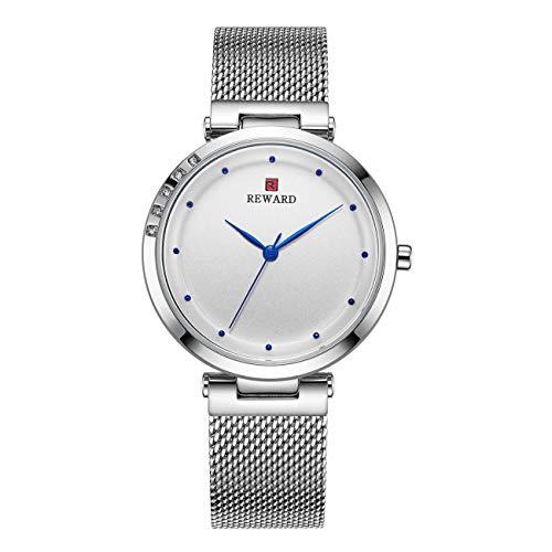Reward Damen Ultradünne Armbanduhren, 8 Mm Minimalistische Frauen Quarzuhr Mit Zeitzeiger Glasspiegel Mit Hoher Härte 30M Wasserdicht Edelstahl-Mesh-Armband,White