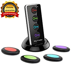 Key Finder, FindKey Wireless Key RF Locator Item Anti-Lost Tag Alarm Reminder Tracker Remote Finder,1 RF Transmitter 4 Receivers,Phone Pets Keychain Wallet Luggage Pet Cat Dog Tracking Tracker