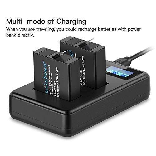 SmilePowo 2 Rechargeable Battery Dual LCD Battery Charger 1480mAh for GoPro Hero 5 6 7 8 Black, GoPro Hero 2018, GoPro Ahdbt-501 AABAT-001 (Compatible with Original Camera)
