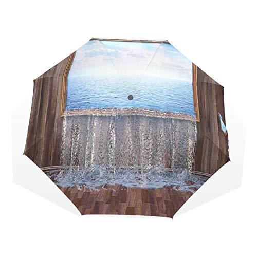 LASINSU Regenschirm,EIN surreales Bild des Ozeans gießt in das städtische Leben der Bodennatur modern,Faltbar Kompakt Sonnenschirm UV Schutz Winddicht Regenschirm