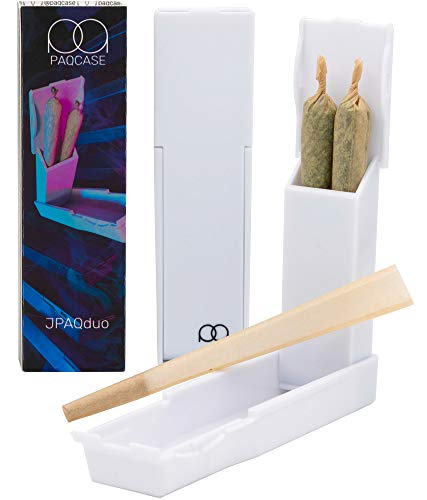 JPAQduo - The #1 Ultra-Sleek Joint Holder, Crush-Proof Doob Tube, and Cigarette Case, Holds 2 King Size Prerolls, Portable, Compact, Joint Accessories (White)