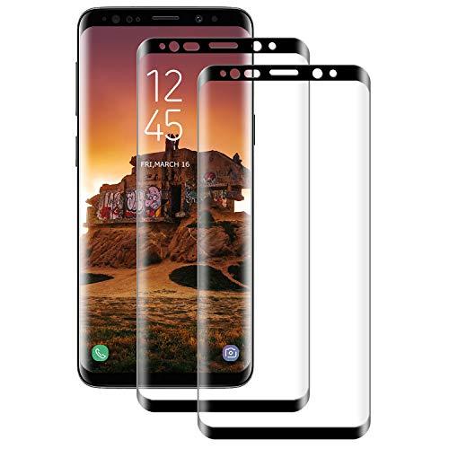 DASFOND Cristal Templado para Samsung Galaxy S8 Plus/S8+, Protector de Pantalla [Negro] Cobertura Completa, Dureza 9H, 3D Curvado, Anti Huellas Vidrio Templado Protector de Samsung S8 Plus, 2 Pack