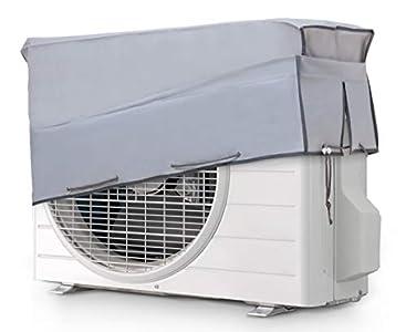 Smart-T-Haus Funda Protectora para Aire Acondicionado Exterior Impermeable Doble Tejido y Protección Uv, Gris, 90 x 55 x 30 cms