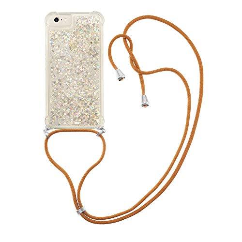 Schutzhülle für iPhone 6/7/8/SE 2020 (Silber) mit Flüssigkeit, glitzernd, TPU-Gel, Silikon, stoßfest [mit Trageband]