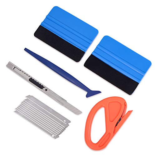 Vehicle Vinyl Wrap Window Tint Film Tool Kit Include 4 Inch Felt Squeegee, Retractable 9mm Utility Knife and Snap-off Blades, Zippy Vinyl Cutter and Mini Soft Go Corner Squeegee for Car Wrapping