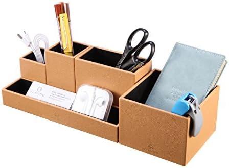 Vlando Desk Organiser with Drawer,Leather Office Stationery Desk Tidy Organiser,Multifunctional Desktop Pen Organizer,Remote Control Holder