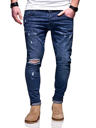 MT Styles Herren Jeans Slim Fit Hose JN-3713 [Blau, W29/L32]