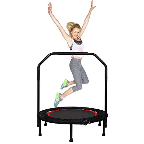 40 Inch Fitness Trampoline for Adult, Foldable Rebounder Trampoline with Adjustable Handrail&Edge Cover for Adults Kids Exercise Indoor/Outdoor Home Gym Equipment - Ø 101cm - Max Weight 150kg