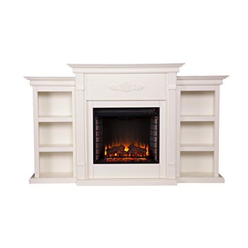 Southern Enterprises Tennyson Electric Fireplace with Bookcase, Ivory Finish