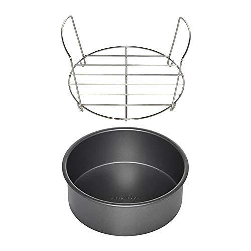 Recipiente instantáneo de metal de acero inoxidable para asar con olla instantánea de 7 pulgadas antiadherente redonda para tartas (2 artículos)