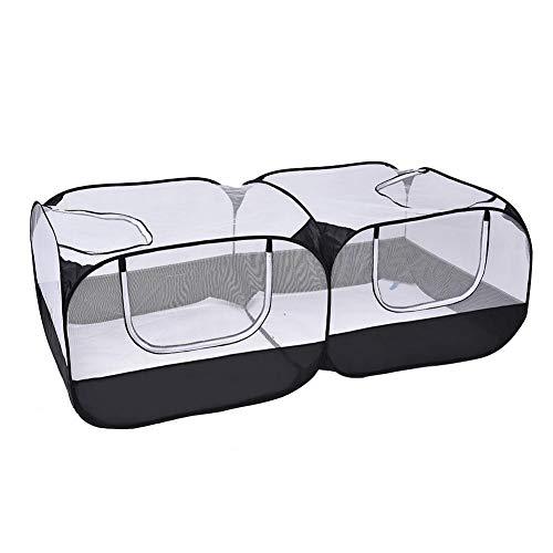 pologyase Faltbar Welpenlaufstall 73 x 25 Zoll Tierlaufstall Tragbar Mesh Open-Air Laufstall mit Aufbewahrungstasche für Huhn, Ente, Katze, Kaninchen, Katze im Freien Zelt
