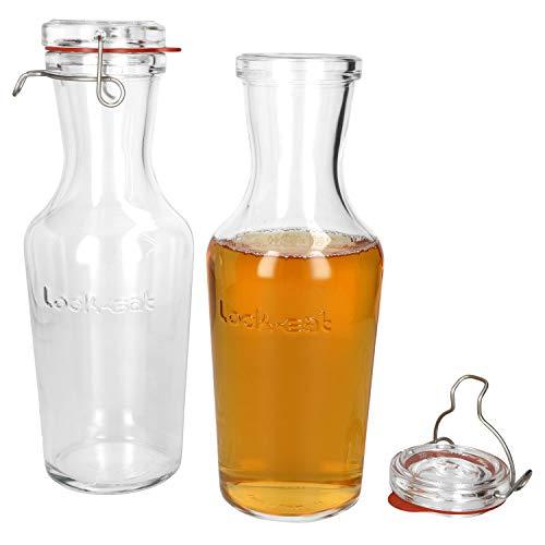 Luigi Bormioli 2er Set Lock-Eat Glas-Karaffe 1 Liter I Bügelflasche I Saft-, Milch-, Wein- & Wasser I Elegante Karaffe mit Glasdeckel & Bügelverschluss I dickwandiges Glas I Edelstahlklemme   Krug