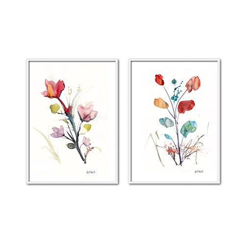 Cuadriman Natura Set de 2 Tableaux Plante et Fleur, Bois, Multicolore, 47 x 32 cm, 2 unités