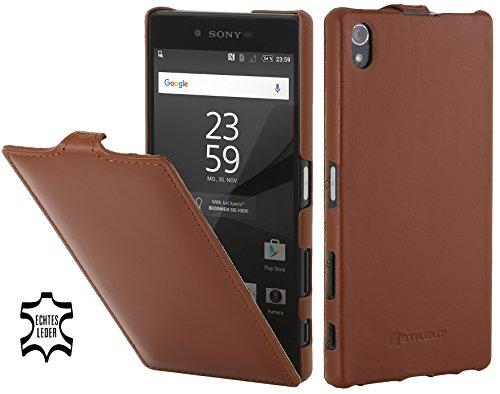 StilGut UltraSlim Hülle, Hülle aus Leder kompatibel mit Sony Xperia Z5 Premium / Z5 Dual Premium, Cognac