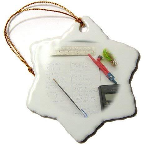 Aersing Xmas Ornament Decor Mathematik Fotografie Mathematik Gleichungen Taschenrechner für Nerd Lehrer Lehrer Schüler Schneeflocke Deko Hängende Ornament Porzellan