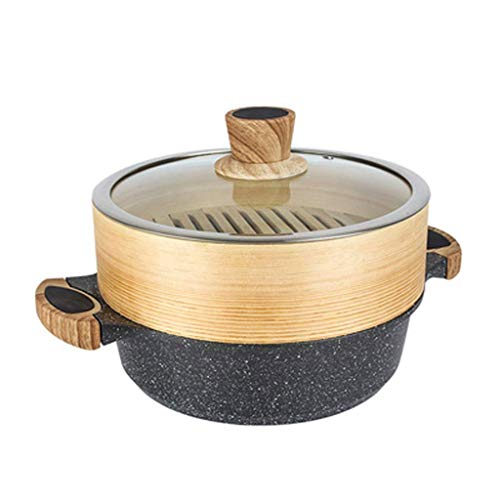 MHTCJ Maifanshi Dampfgarer, Dampf Und Doppelgriff Beschichteten Pfanne Abdeckung for Alle Wärmequellen (Size : 24cm)
