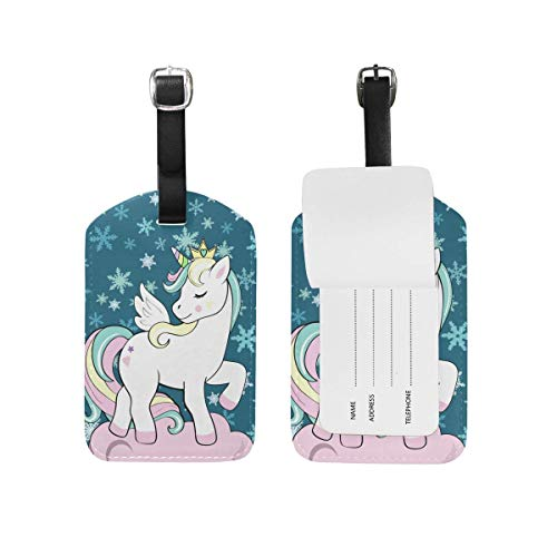 shenguang 2PCS Leather Watercolor Horse Luggage Tags Travel Baggage Labels Bag Tag
