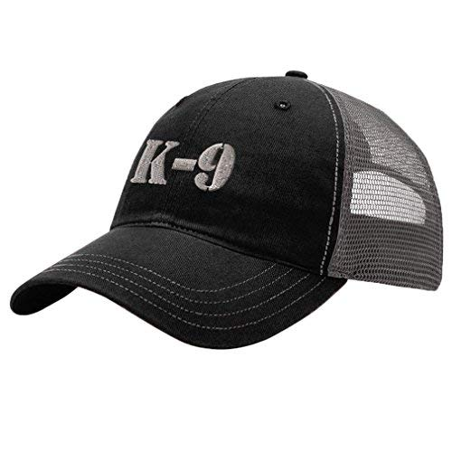 K-9 Silver Logo Embroidery Design Richardson Cotton Front and Mesh Back Cap Black/Charcoal