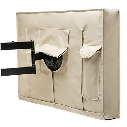 FEIYUGN Cubierta al Aire Libre TV 22-65 Pulgadas - Mejor Calidad de Material Resistente al Agua y al Polvo con Control Remoto Bolsa de Almacenamiento, Beige FEIYU (Color : 46, Size : 48INCH)