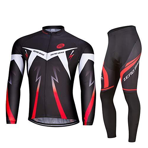 ZEROBIKE Uomo Manica Manica Lunga Jersey Abbigliamento Set, Ciclismo Jersey Camicia + 3D Gel Imbottito Pantaloni Ciclismo Equitazione Bike Sportswear, 0087, M