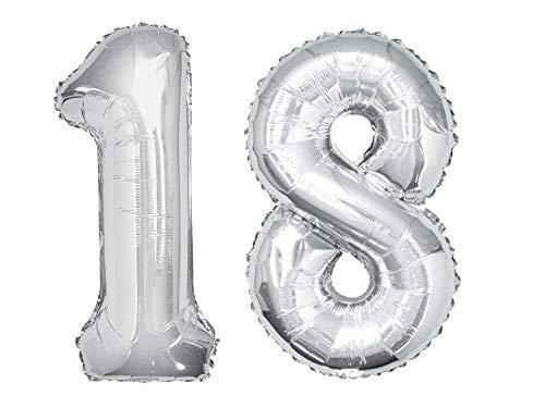 Dancing Queen Geburtstagsluftballons Zahlen Luftballon 18 Geburtstag Mädchen & Junge Helium Ballons XXL Geburtstagsdeko 18 Geburtstag Folienballon Deko Ballon Zahl Silber 100 cm