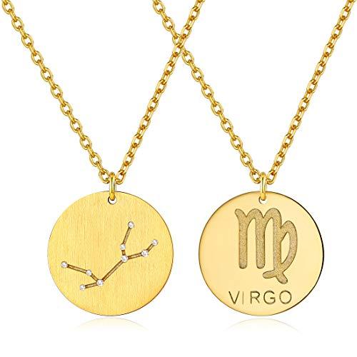 ChicSilver Oro Virgo Diciembre Monedas Redondas Plata de Ley