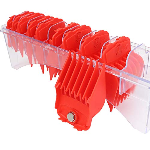 """Professional Hair Clipper Guards Guides Hair Cutting Guides #3170-400- 1/8"""" to 1 fits for all Wahl Clippers (Red Magnetic 10 pcs)"""