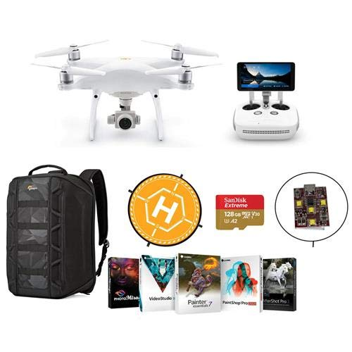 DJI Phantom 4 Pro+ V2.0 Quadcopter Drone with 5.5-inch FHD Screen Remote Controller - Bundle with 128GB MicroSDXC Card, Lowepro DroneGuard Backpack, Landing Pad, Firehouse ARC White Strobe, Software