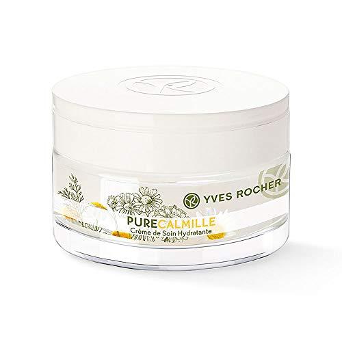 Yves Rocher PURE CALMILLE sanfte Pflege Tag & Nacht, feuchtigkeitsspendende Gesichtscreme, mit Bio-Kamille, 1 x Glas-Tiegel 50 ml