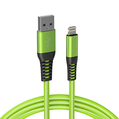 Limebrite 3 metre Double Braided Nylon MFi Certified USB Charging Cable Compatible with iPhone 12/11/Xs/X, iPhone SE, iPhone 8/7/6 Plus, iPad, iPad Mini, iPod Touch (Green)