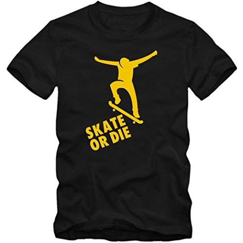 Herren T-Shirt Skateboard Skater Half Pipe Longboard Board Shirt Tee, Größe:XL, Farbe:schwarz/gelb