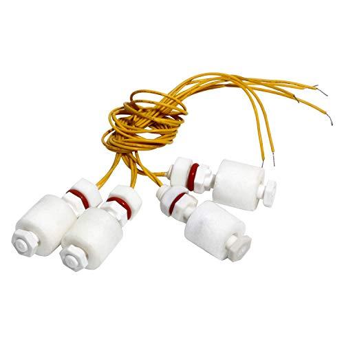 Interruptor de flotador de plástico blanco de polipropileno para sensor de nivel de agua vertical de acuario de acuario de pesca, longitud de 55 mm, M10 x 1,5