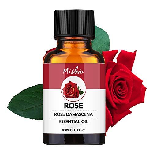 MISHIU Huile Essentielle d'Aromathérapie Essentielle Bio 100% Naturel Pur Huile dans Bouteille Plat 10ML - Rosa