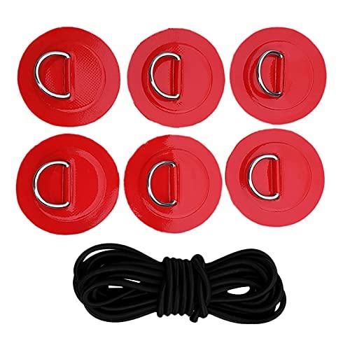 Fuerte 1 Set Stand Up Paddleboard Bungee Deck Kit de Aparejo de la Plataforma D-Ring Patch Patch Kit de fijación Kayak Canoa Dingy Accesorios Durable (Color : Red)