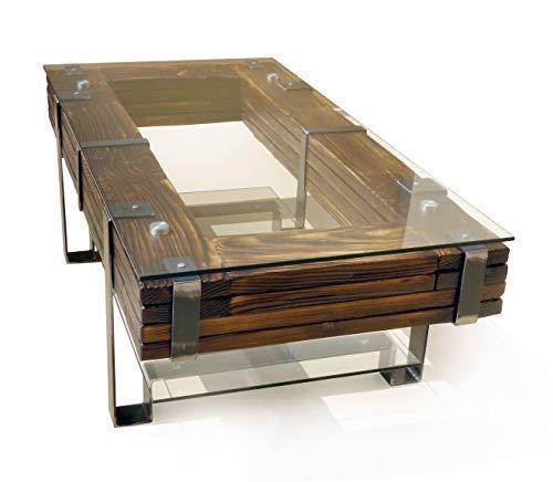 CHYRKA® Couchtisch Wohnzimmertisch LEMBERG Loft Vintage Bar IndustrieDesign Handmade Holz Glas Metall (120x60 cm H=40 cm)