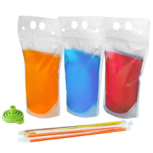 100PCS Drink Pouches with Straw ...