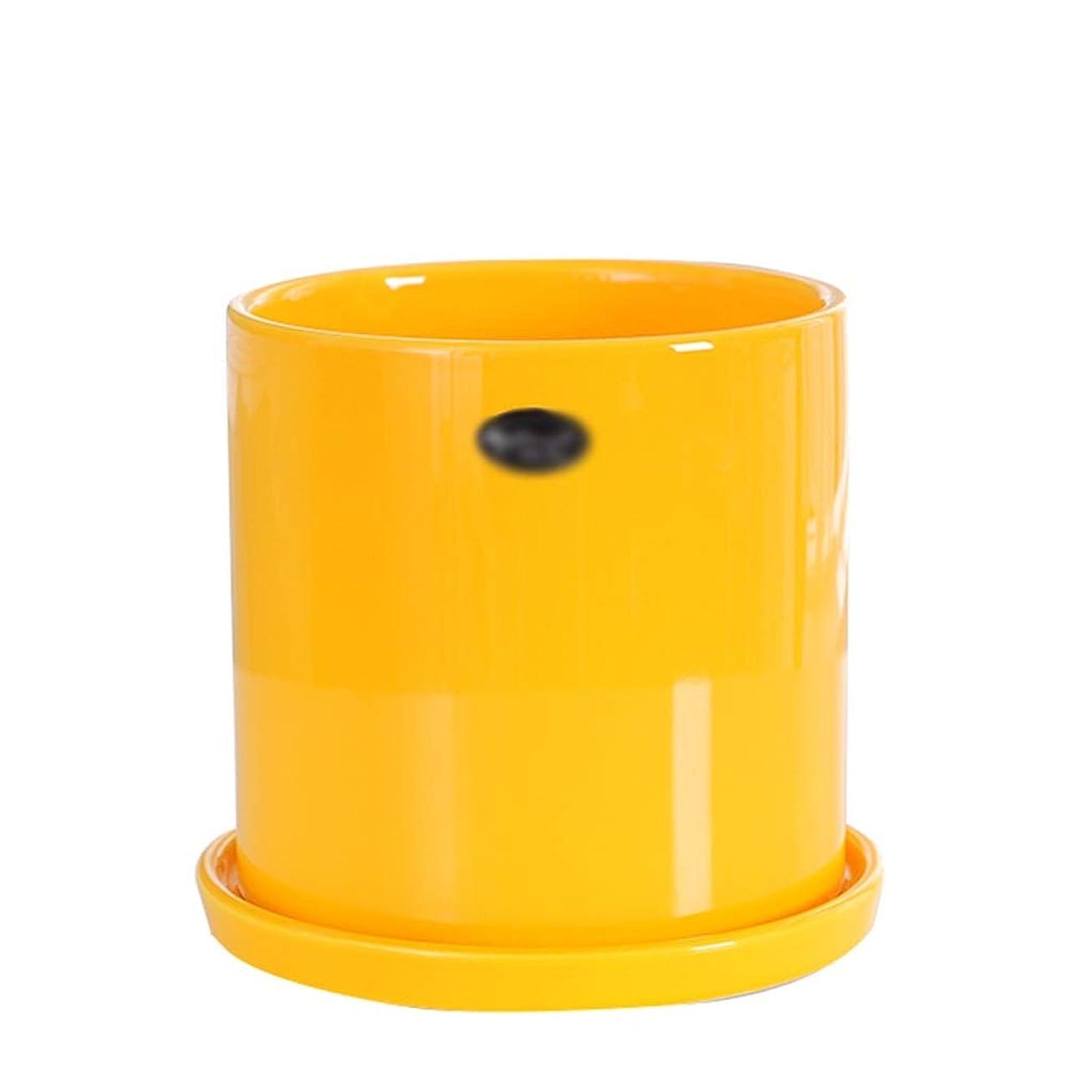 乱すセマフォ一部ガーデニング工具鉢-ChenMyi セラミックフラワーポット、コーヒーテーブルダイニングテーブルラウンドフラワーポットユリジャスミン装飾品複数色でシャーシ ベッドヘッド植物装飾容器 (Color : Yellow, Size : 15.5*15.5*18CM)