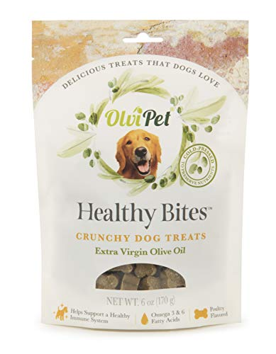 OlviPet, Healthy Bites, Crunchy Dog Treats, Poultry Flavored, Healthy Snack, Olive Oil Based, Rich in Nutrients, 6 oz.