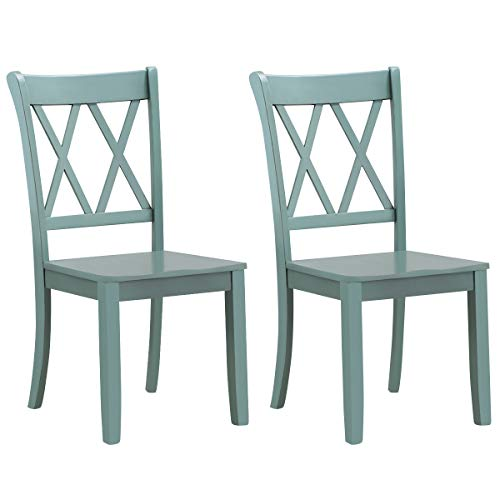 Giantex Set of 2 Dining Chairs, Rubber Wood Dining Room Side Chair, Mestler Dining Room Side Chairs for Home Kitchen, Dining Room, Mint Green (1, Mint Green)