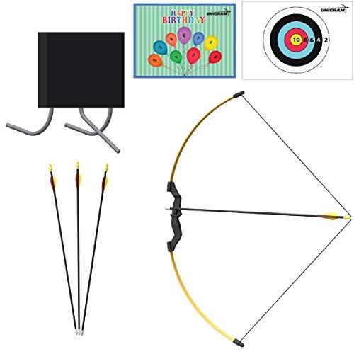 UniGram Pfeil und Bogen; Recurvebogen für Kinder und Jugend zum Bogenschießen und Outdoor-Aktivitäten; EIN tolles Geschenk (Set: Bogen (12 lbs) mit 4X Pfeilen und Schaumstoffscheibe).