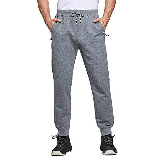 Tansozer - Pantalones Largos de Deporte para Hombre, con puños de algodón y Bolsillos con Cremallera Gris Oscuro M