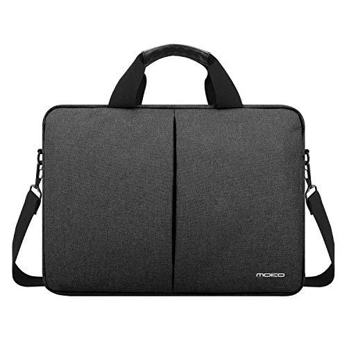 "MoKo 14 Inch Laptop Shoulder Bag Compatible with 15"" MacBook Pro, 15"" Microsoft Surface Book, 14"" Lenovo Flex 4, 14"" HP Chromebook, 14"" Dell Inspiron 14, Flax Handbag Notebook Sleeve, Dark Gray"