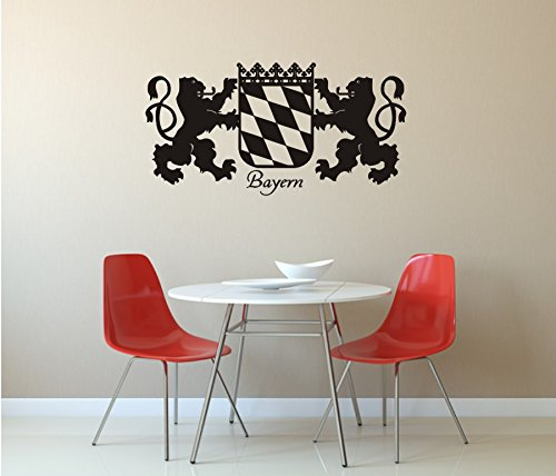 blattwerk-design Bayern - Wappen, Wandaufkleber, Wandtattoo. Freistaat Bayern, Bavaria (M070 Schwarz, 1200 mm x 600 mm)